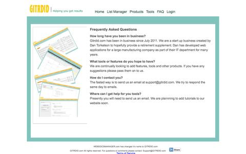 Screenshot of FAQ Page webdocsmanager.com - Frequently asked question - GITRDID.com - captured Oct. 26, 2014