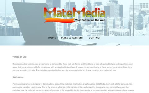 Screenshot of Terms Page matemedia.com - Terms Of Use - MateMedia - captured July 26, 2018