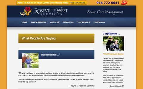 Screenshot of Testimonials Page rosevillewest.com - Testimonials - Roseville West Services Roseville West Services - captured Oct. 7, 2014
