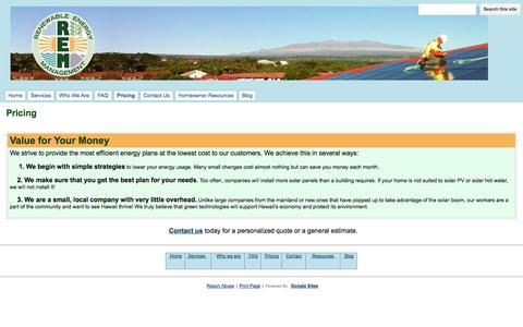 Screenshot of Pricing Page remsolutions.org - Pricing - Renewable Energy Management - captured Oct. 26, 2014