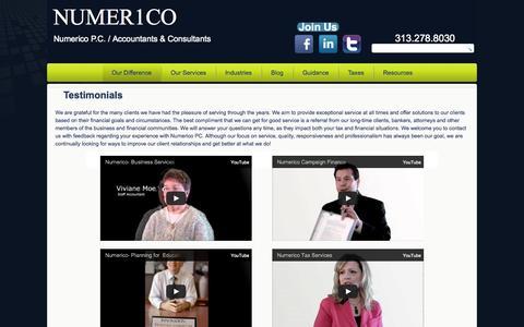 Screenshot of Testimonials Page numerico.com - Numerico PC- Testimonial Videos | NUMER1CO - captured Oct. 9, 2014