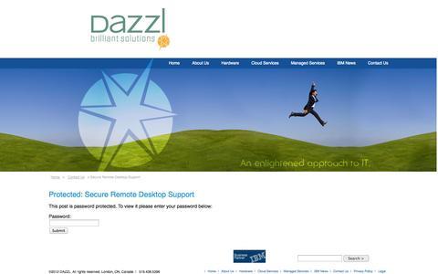 Screenshot of Support Page dazzl.com - Secure Remote Desktop Support | Dazzl - captured Oct. 5, 2014
