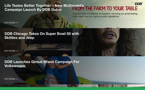 Screenshot of Press Page ddb.com - DDB Worldwide |   News - captured Feb. 16, 2016