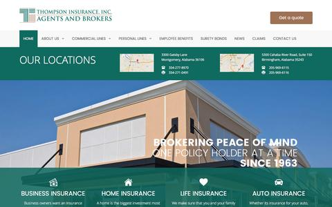 Screenshot of Home Page thomins.com - Home   Thompson Insurance - captured Feb. 16, 2016