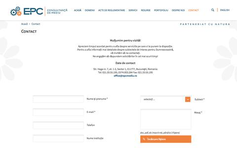 Screenshot of Contact Page epcmediu.ro - Contact - captured July 9, 2017