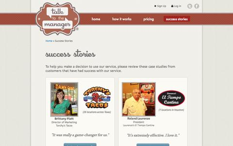 Screenshot of Case Studies Page talktothemanager.com - Case Studies (Success Stories) - Talk to the Manager - captured Oct. 30, 2014