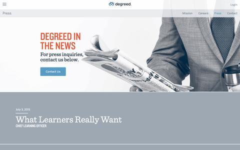 Screenshot of Press Page degreed.com - Press | degreed - captured Dec. 19, 2015