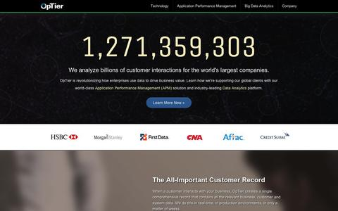 Screenshot of Home Page optier.com - OpTier - Application Performance Management, Big Data Analytics, APM Software, Application Performance Monitoring, Transactional Data, IT Management - captured Sept. 10, 2014