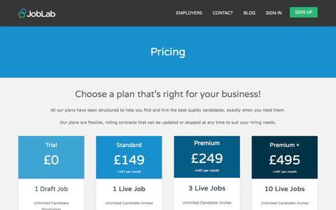 Screenshot of Pricing Page joblab.com - Pricing - JobLab - captured Nov. 27, 2016