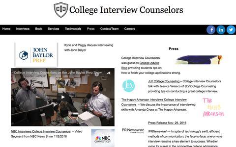 Screenshot of Press Page collegeinterviewcounselors.com - Press - College Interview Counselors - captured Aug. 17, 2017