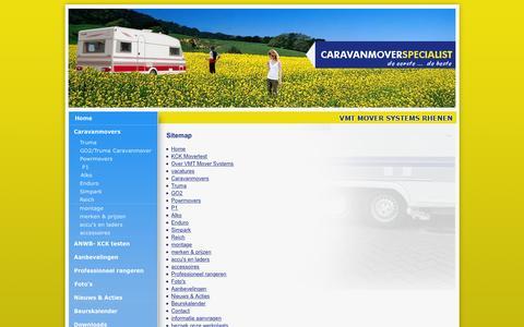 Screenshot of Site Map Page caravanmoverspecialist.nl - Sitemap vtm mover specialist te rhenen met merken, accu's en laders, accessoires, montage, professioneel rangeren, aanbevelingen, contact, informatie aanvragen, werkplaats, link, downloads - captured March 4, 2016