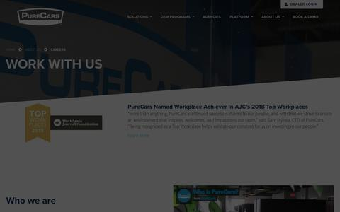 Screenshot of Jobs Page purecars.com - Careers & Open Positions | Company | PureCars Digital Solutions - captured Jan. 18, 2020