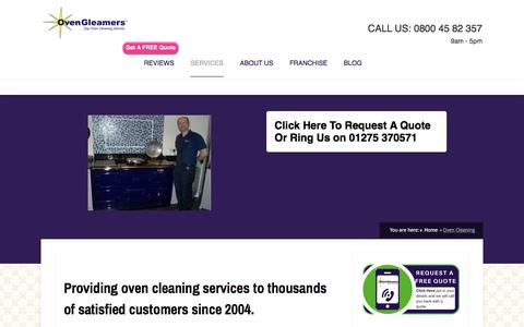 Screenshot of Services Page ovengleamers.com - Oven Cleaning - OvenGleamers - captured June 7, 2018
