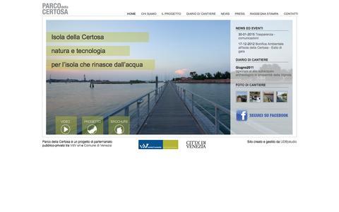 Screenshot of Home Page parcodellacertosa.it - Parco della Certosa | Progetto di riqualificazione dell'Isola della Certosa a Venezia. Partenariato pubblico-privato tra Comune di Venezia e VdV Srl - captured Oct. 9, 2015