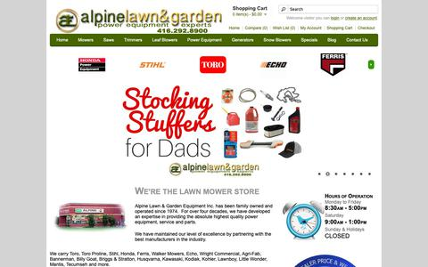 Screenshot of Home Page alpinelawn.com - Alpine Lawn & Garden Equipment | Lawn Mowers | Snow Blowers | Landscaping Equipment | Toronto Ontario - captured Dec. 18, 2018
