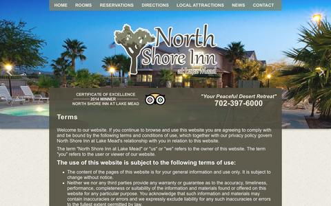 Screenshot of Terms Page northshoreinnatlakemead.com - North Shore Inn at Lake Mead - Terms - captured Sept. 30, 2014