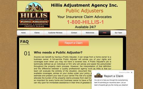 Screenshot of FAQ Page hillis1.com - Hillis Adjustment Agency-FAQ - captured Nov. 8, 2016