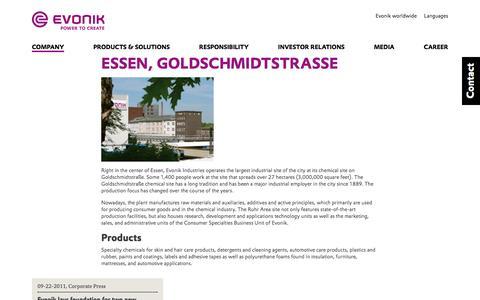 Evonik Industries - Specialty chemicals - Site Essen, Germany - Evonik Industries AG