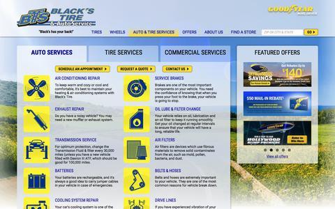 Screenshot of Services Page blackstire.com - Auto Repair Services in NC and SC | Black's Tire & Auto Service - captured June 1, 2017