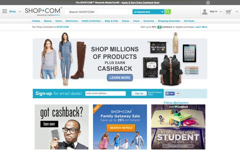 Screenshot of Home Page shop.com - SHOP.COM – Online Shopping Marketplace: Clothes, Shoes, Beauty, Electronics and More - captured Sept. 19, 2015