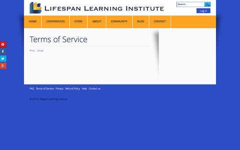 Screenshot of Terms Page lifespanlearn.org - Terms of Service - Lifespan Learning Institute - captured Nov. 9, 2016