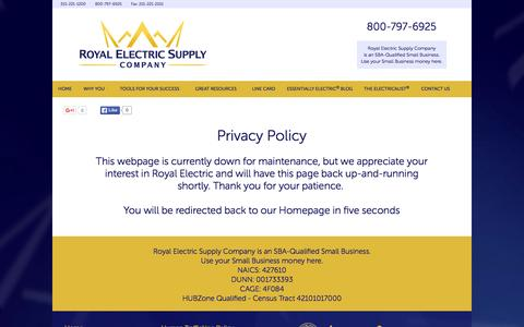 Screenshot of Home Page royalelectric.com - Royal Electric Supply Company - captured Oct. 5, 2015