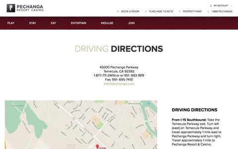 Screenshot of Maps & Directions Page pechanga.com - Driving Directions   Pechanga Resort & Casino - captured July 11, 2017