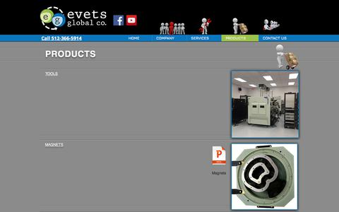 Screenshot of Products Page evetsglobal.com - Evets Global : Semiconductor Refurbishment Company | PRODUCTS - captured Sept. 5, 2017