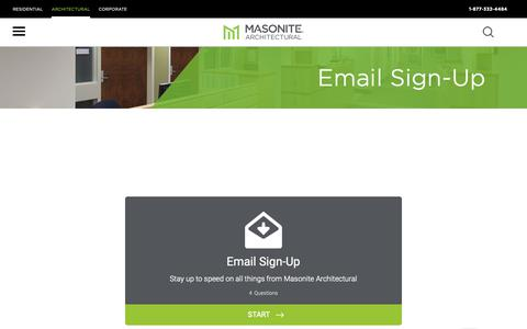 Screenshot of Signup Page masonite.com - Sign Up - Masonite Architectural - captured Oct. 24, 2018