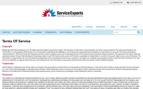 Service Experts Heating & Air Conditioning Terms and Conditions