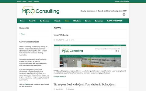 Screenshot of Press Page mpcconsulting.net - MPC Consulting Ltd. – News - captured Oct. 4, 2014