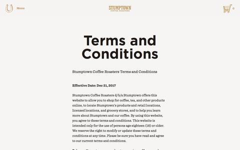 Screenshot of Terms Page stumptowncoffee.com - Stumptown Coffee Roasters - Stumptown Coffee Roasters - captured Jan. 6, 2018