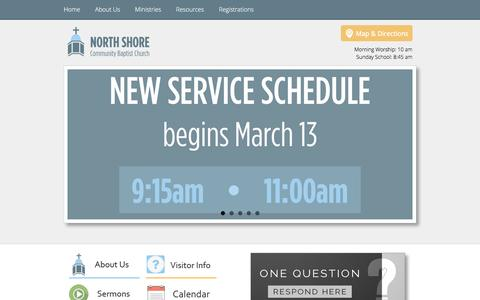 Screenshot of Home Page nscbc.org - North Shore Community Baptist Church: Home - captured Feb. 15, 2016