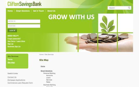 Screenshot of Site Map Page cliftonsavings.com - Site Map | Clifton Savings Bank - captured Oct. 2, 2014