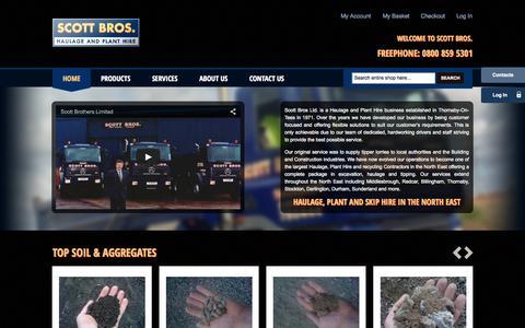 Screenshot of Home Page scottbros.com - Haulage, Plant and Skip Hire Middlesbrough - Scott Bros - captured June 17, 2015