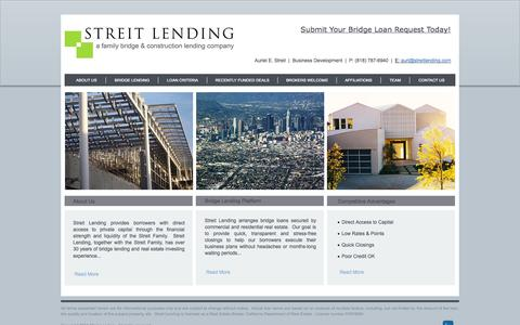 Screenshot of Home Page streitlending.com - Streit Lending - captured Oct. 7, 2014