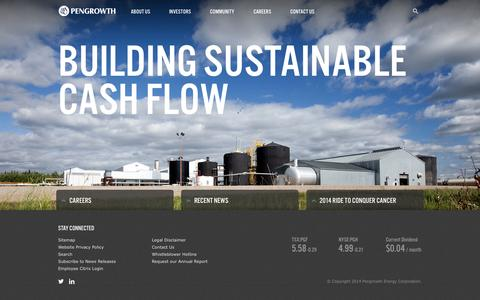 Screenshot of Home Page pengrowth.com - Pengrowth Energy Corp » Pengrowth Energy Corporation - captured Oct. 2, 2014