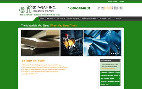 Screenshot of Press Page edfagan.com - News from Ed Fagan Inc. on Controlled Expansion, Electrical Electronic Nickel, Soft Magnetic, Refractory Metals and Alloys, and Stencil Grade Stainless Steel - captured Sept. 27, 2018