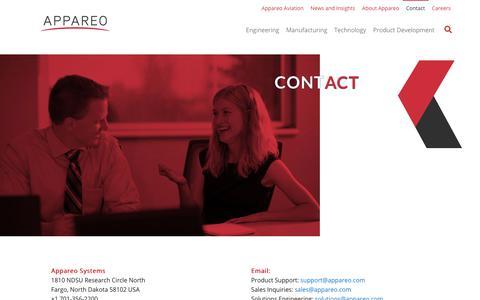 Screenshot of Contact Page appareo.com - Contact - Appareo - captured Nov. 12, 2018