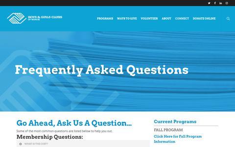 Screenshot of FAQ Page bgcmuncie.org - FAQ – Boys & Girls Clubs of Muncie - captured Oct. 6, 2018