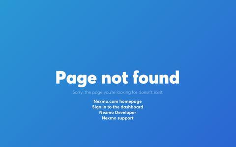 Page Not Found - Nexmo