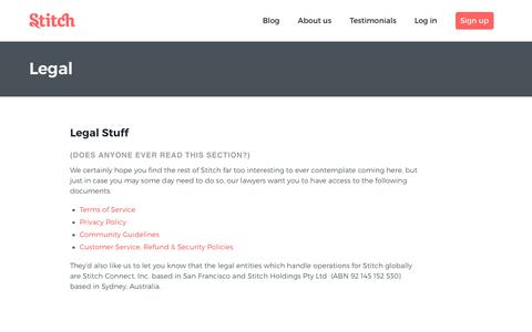 Screenshot of Terms Page stitch.net - Legal - Stitch - captured Feb. 10, 2019