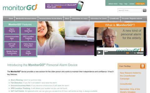 Screenshot of Home Page monitorgo.com - MonitorGO | A new personal alarm for the elderly living at home - captured Oct. 6, 2014