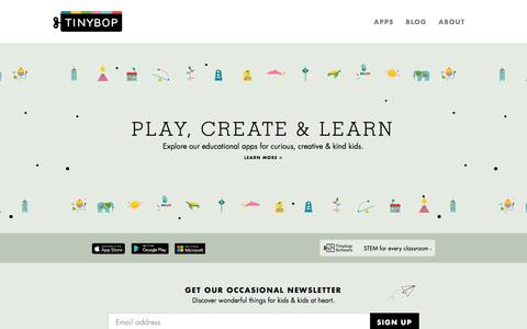 Screenshot of Home Page tinybop.com - Play, create & learn | Tinybop - captured Feb. 15, 2018