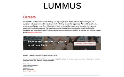 Screenshot of Jobs Page lummus.com - Careers - Lummus Corporation - captured Nov. 17, 2018