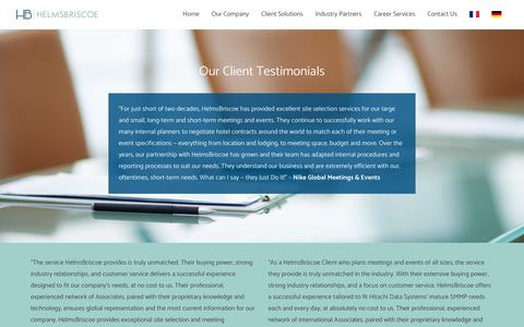 Screenshot of Testimonials Page helmsbriscoe.com - HelmsBriscoe Client Testimonials - captured Nov. 4, 2018