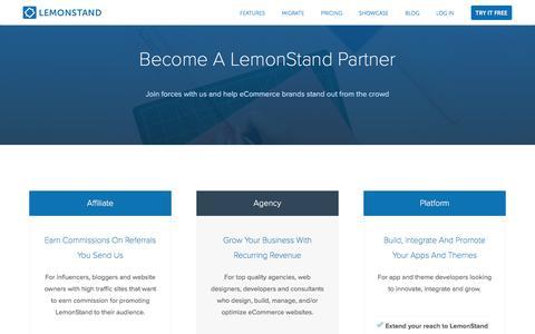 Screenshot of lemonstand.com - Partner Up With The Best eCommerce Platform | LemonStand - captured Dec. 9, 2016