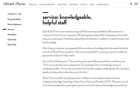 Screenshot of Services Page bristolfarms.com - Service: Knowledgeable, Helpful Staff   Bristol Farms - captured June 3, 2017