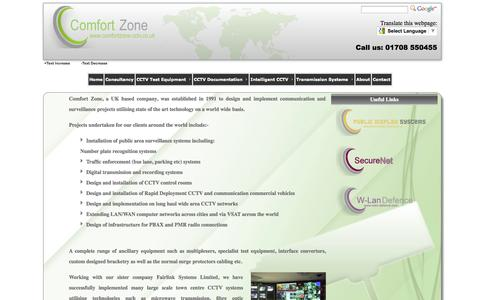 Screenshot of Home Page comfortzone-cctv.co.uk - Comfort Zone - captured Oct. 2, 2014