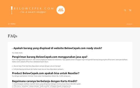 Screenshot of FAQ Page belowcepek.com - FAQs – belowcepek.com - captured Oct. 30, 2017